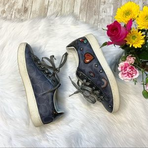 COACH Denim Signature Prairie Souvenirs Sneakers